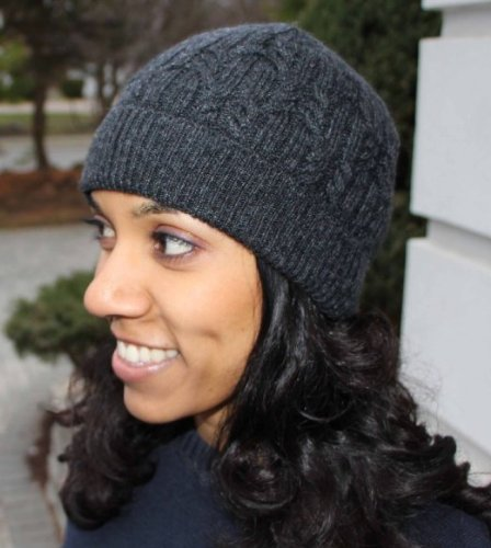 Merino Wool Blend Cable Knit Winter Hat - Made in Italy