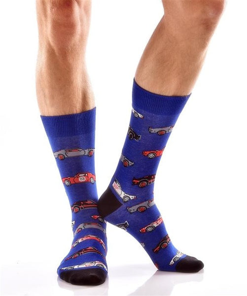 "Men's ""Sports Cars"" Cotton Dress Crew Socks by YO Sox"