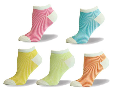 80% Combed Cotton Ankle Pin Striped Casual Socks - Assorted 2PK