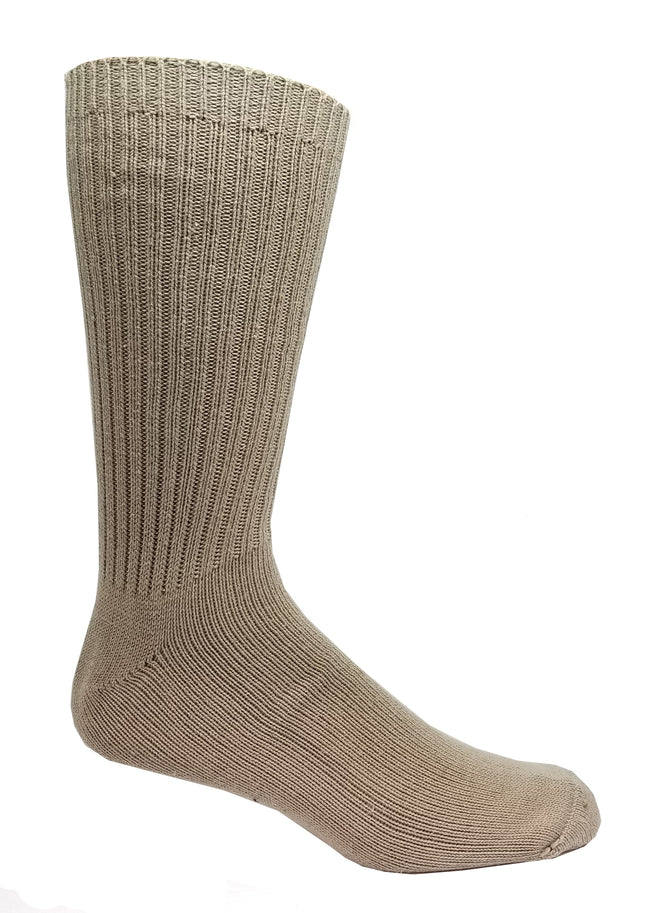 Tan High percent cotton dress socks