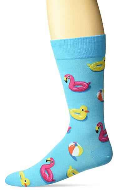 "Unisex ""Unicorns & Flamingos Pool Floats"" Cotton Dress Crew Socks by Hot Sox"