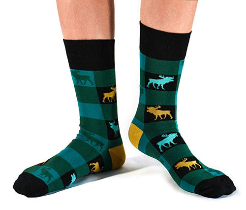 "Men's ""Boreal Moose"" Cotton Crew Socks by Uptown Sox"