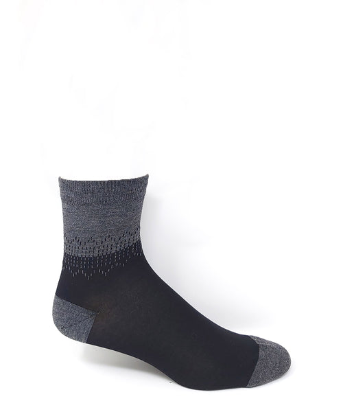 Vagden Men's Low-Cut Black & Grey Bamboo Dress Socks
