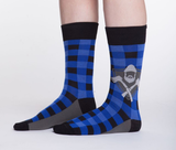Blue plaid axe socks