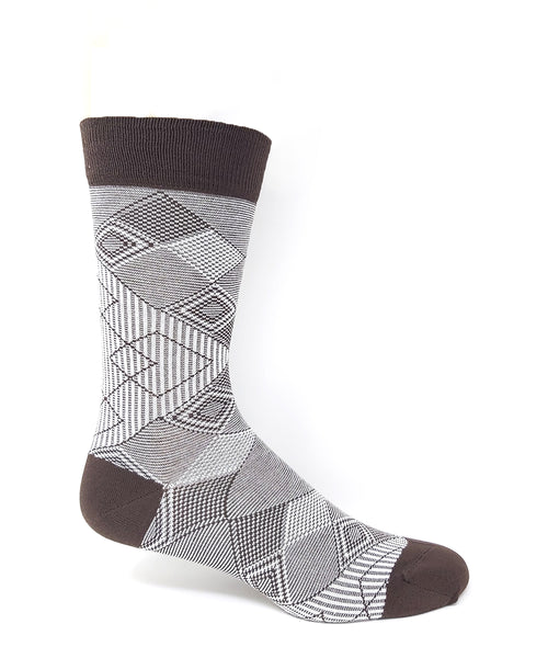 "Vagden Men's ""Geometric Diamonds"" Bamboo Light-weight Dress Socks"