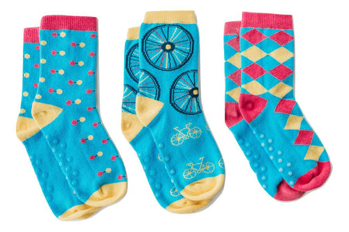 "Q for Quinn ""Blair's Mix"" Anti-Slip Mix and Match Toddler Socks (3 pairs)"