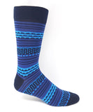 Vagden Men's Bold Dot & Stripe Blue Cotton Dress Sock