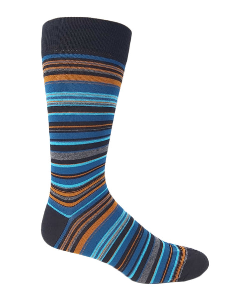 Vagden Men's Blue & Orange Stripe Cotton Dress Sock