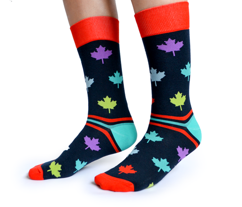 "Men's ""Maple Leaf"" Cotton Crew Canadian Socks by Uptown Sox"