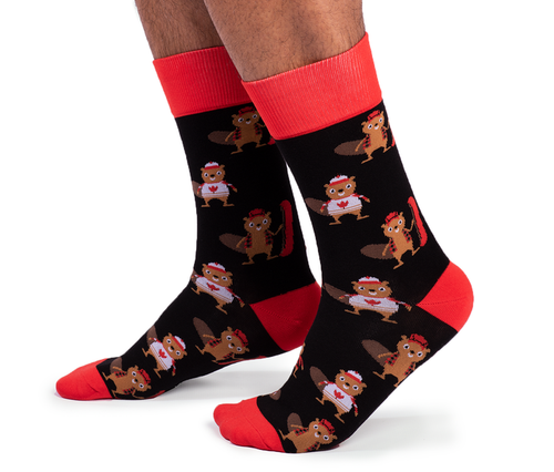 "Men's ""Chuck the Canuck"" Cotton Canadian Socks by Uptown Sox"