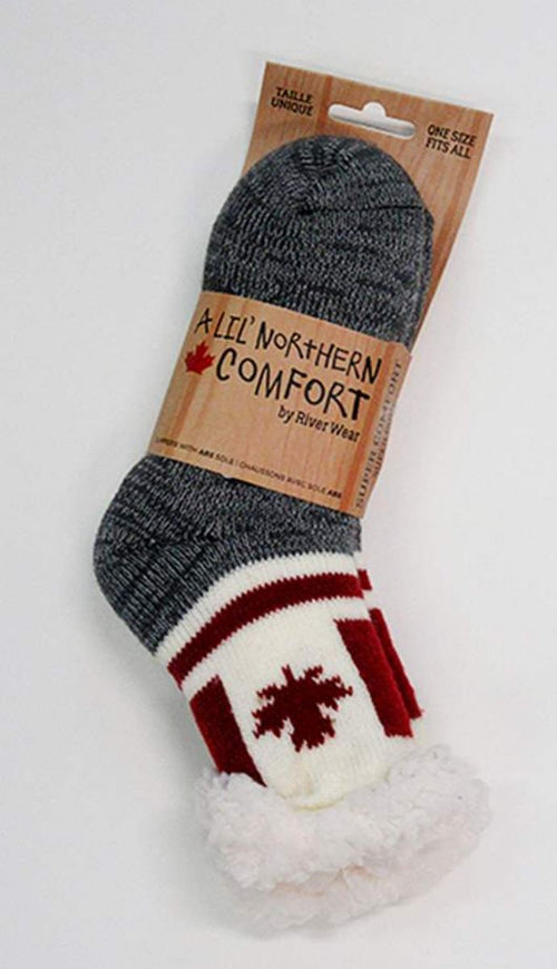 "Northern Comfort Kid's ""Canada Flag"" Small Sherpa-Lined Grip Slipper Socks"