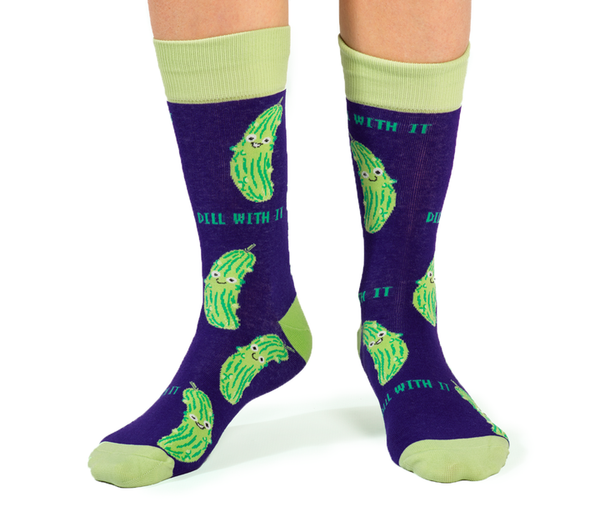 "Men's ""In a Pickle"" Cotton Crew Socks by Uptown Sox"