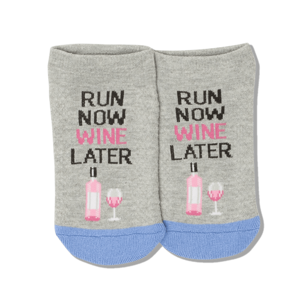 "Women's ""Run Now Wine Later"" Ankle Socks by Hot Sox"