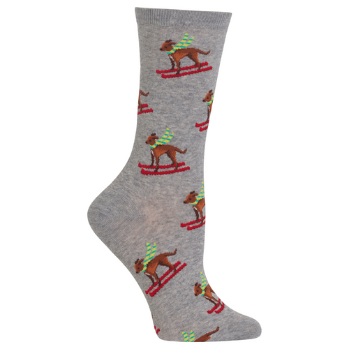"Women's ""Ski Dog"" Cotton Dress Crew Socks by Hot Sox"