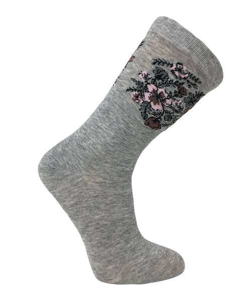 "Vagden Women's ""Bouquet"" Combed Cotton Socks"