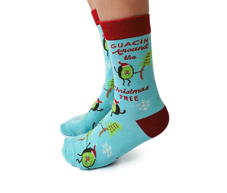 "Men's ""Santa Jaws"" Cotton Crew Socks by Uptown Sox"