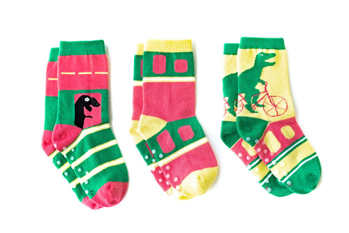 "Q for Quinn ""The Green Dinosaur"" Toddler Socks (3 pairs)"