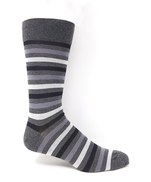 "Vagden Men's Grey Bamboo ""Simple Stripe"" Socks"