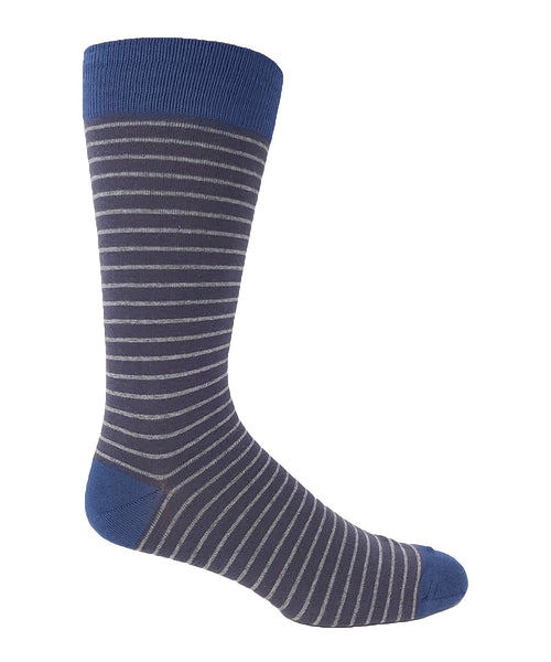 Vagden Men's Cotton Blue & Grey Pin Stripe Dress Socks