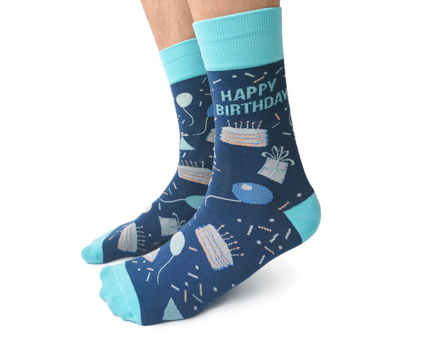 "Men's ""Happy Birthday"" Cotton Crew Socks by Uptown Sox"