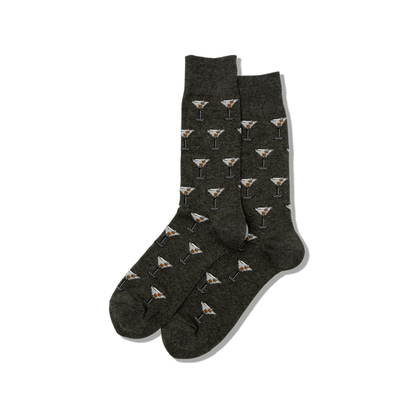 "Men's ""Martini"" Cotton Crew Socks by Hot Sox"