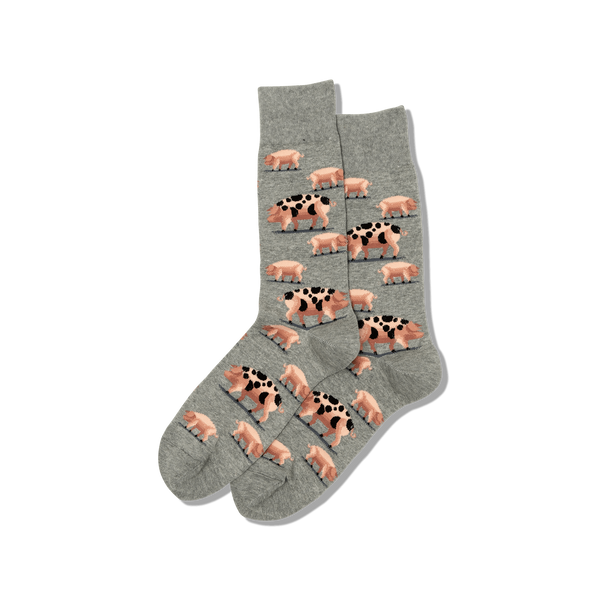 "Men's ""Spotted Pig"" Cotton Crew Socks by Hot Sox"