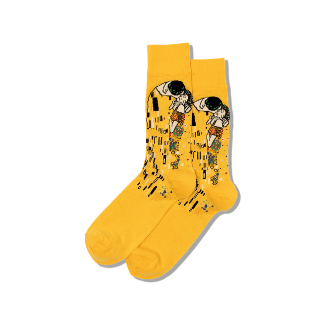 "Unisex ""Klimt's The Kiss"" Cotton Dress Crew Socks by Hot Sox"