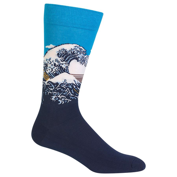 "Unisex ""Hokusai's Great Wave"" Cotton Dress Crew Socks by Hot Sox"