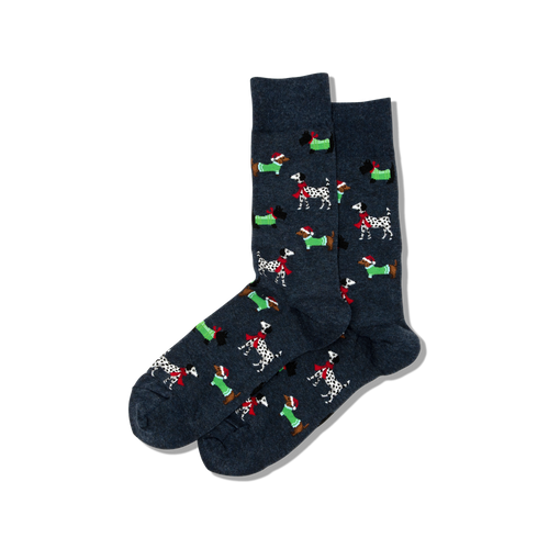 "Men's ""Christmas Dogs"" Cotton Crew  Socks by Hot Sox"