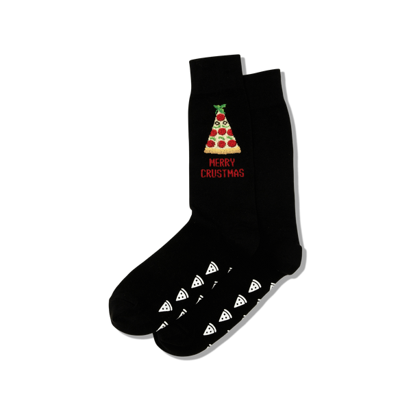 "Men's ""Merry Crustmas"" Cotton Crew  Socks by Hot Sox"