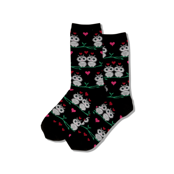 "Women's ""Owl Love"" Cotton Dress Crew Socks by Hot Sox"