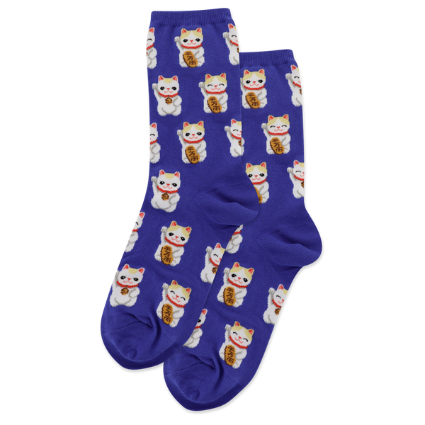"Women's ""Lucky Cat"" Cotton Dress Socks by Hot Sox"