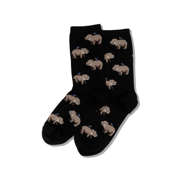 "Women's ""Hippo"" Cotton Crew Socks by Hot Sox"