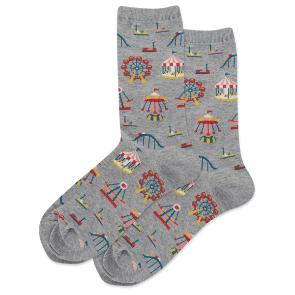 "Women's ""Carnival Rides"" Cotton Crew Socks by Hot Sox"