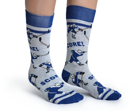"Unisex ""Slap Shot"" Cotton Crew Hockey Socks by Uptown Sox"