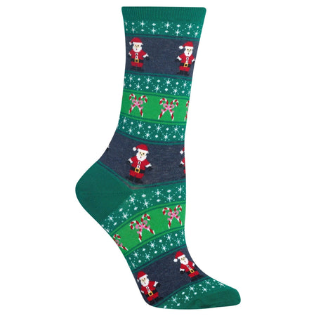 "Unisex ""Christmas Sweater Dinosaur"" Cotton Crew Socks by Good Luck Sock"