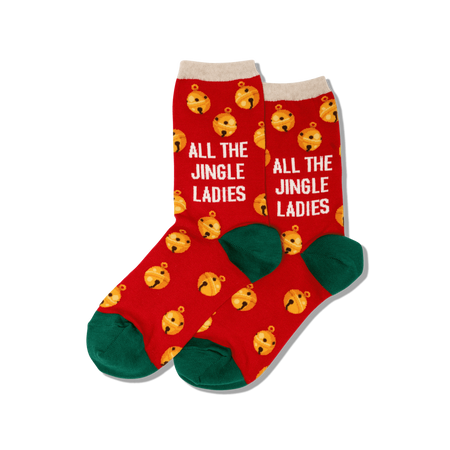"Unisex ""Santa on a Sled"" Cotton Crew Socks by Good Luck Sock"