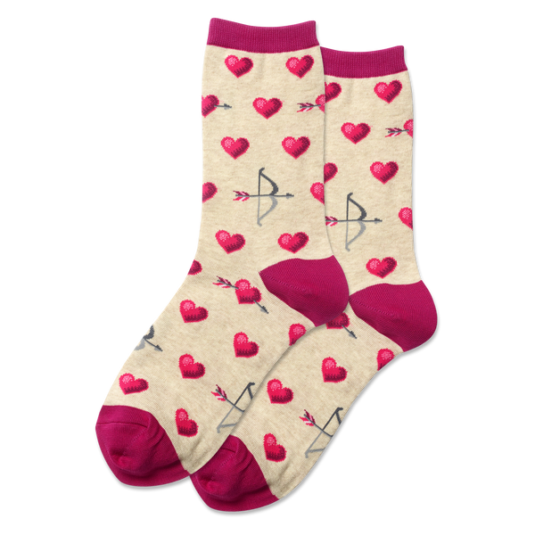 "Women's ""Bow and Arrow"" Cotton Dress Crew Socks by Hot Sox"