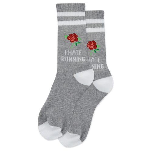 "Women's ""I Hate Running"" Cotton Dress Crew Socks by Hot Sox"