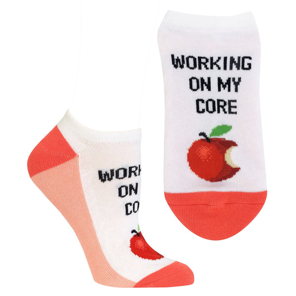 "Women's ""Working On My Core"" Ankle Socks by Hot Sox"