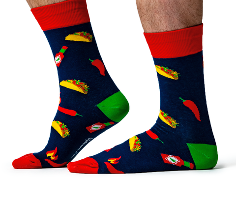 Men's Taco Cotton Crew Socks by Uptown Sox