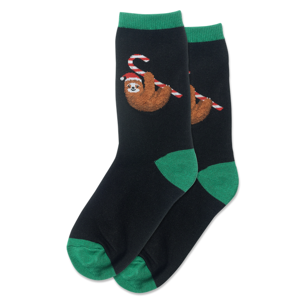 "Kid's ""Candy Cane Sloth"" Crew Socks by Hot Sox"