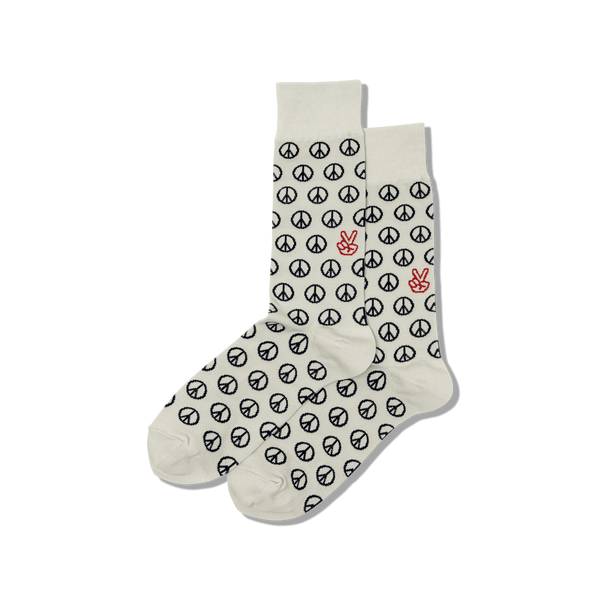 "Men's ""Peace Sign"" Cotton Crew Socks by Hot Sox"