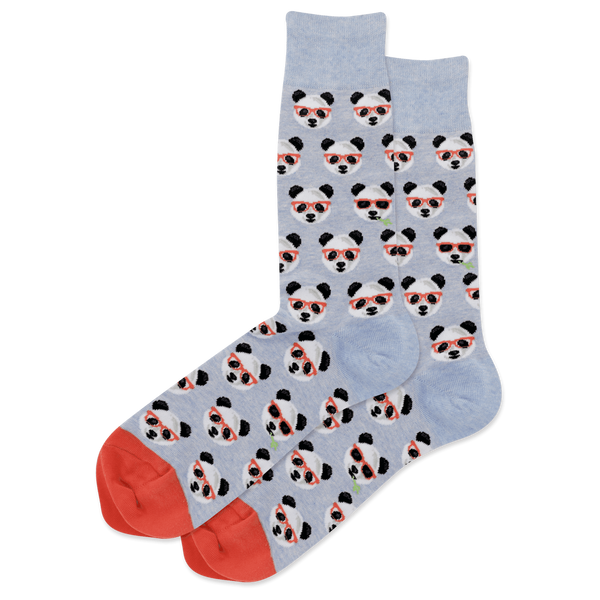 "Men's ""Smart Panda"" Cotton Crew Socks by Hot Sox"