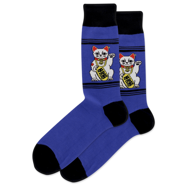 "Men's ""Lucky Fortune Cat"" Cotton Crew Socks by Hot Sox"