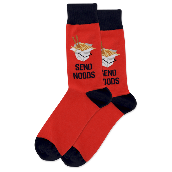 "Men's ""Send Noodles"" Cotton Crew Socks by Hot Sox"