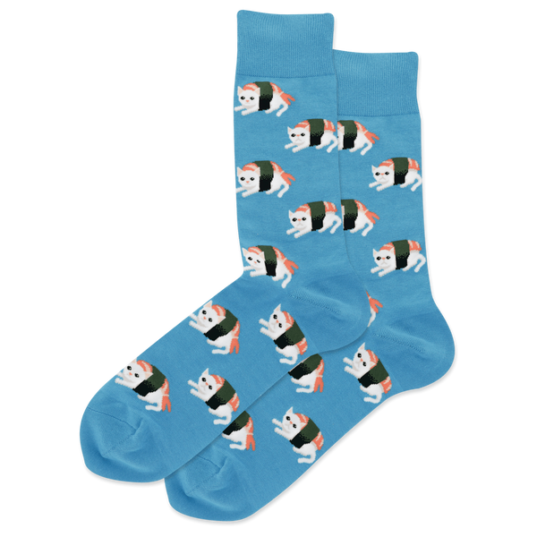 "Unisex ""Sushi Cat"" Cotton Crew Socks by Hot Sox"