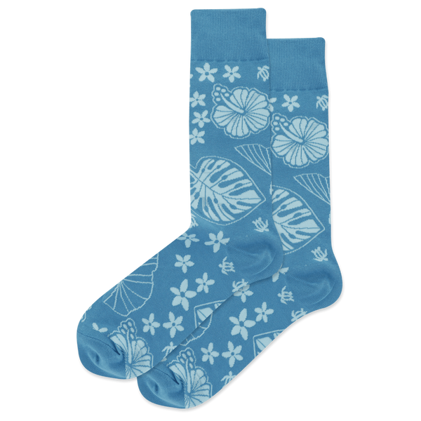 "Men's ""Tropical Floral"" Cotton Crew Socks by Hot Sox"