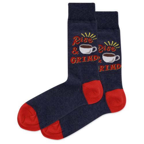 "Unisex ""Rise and Grind"" Cotton Crew Socks by Hot Sox"