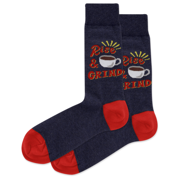 "Men's ""Rise and Grind"" Cotton Crew Socks by Hot Sox"